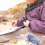 Working en plain air, Isle of Lewis, 2012.