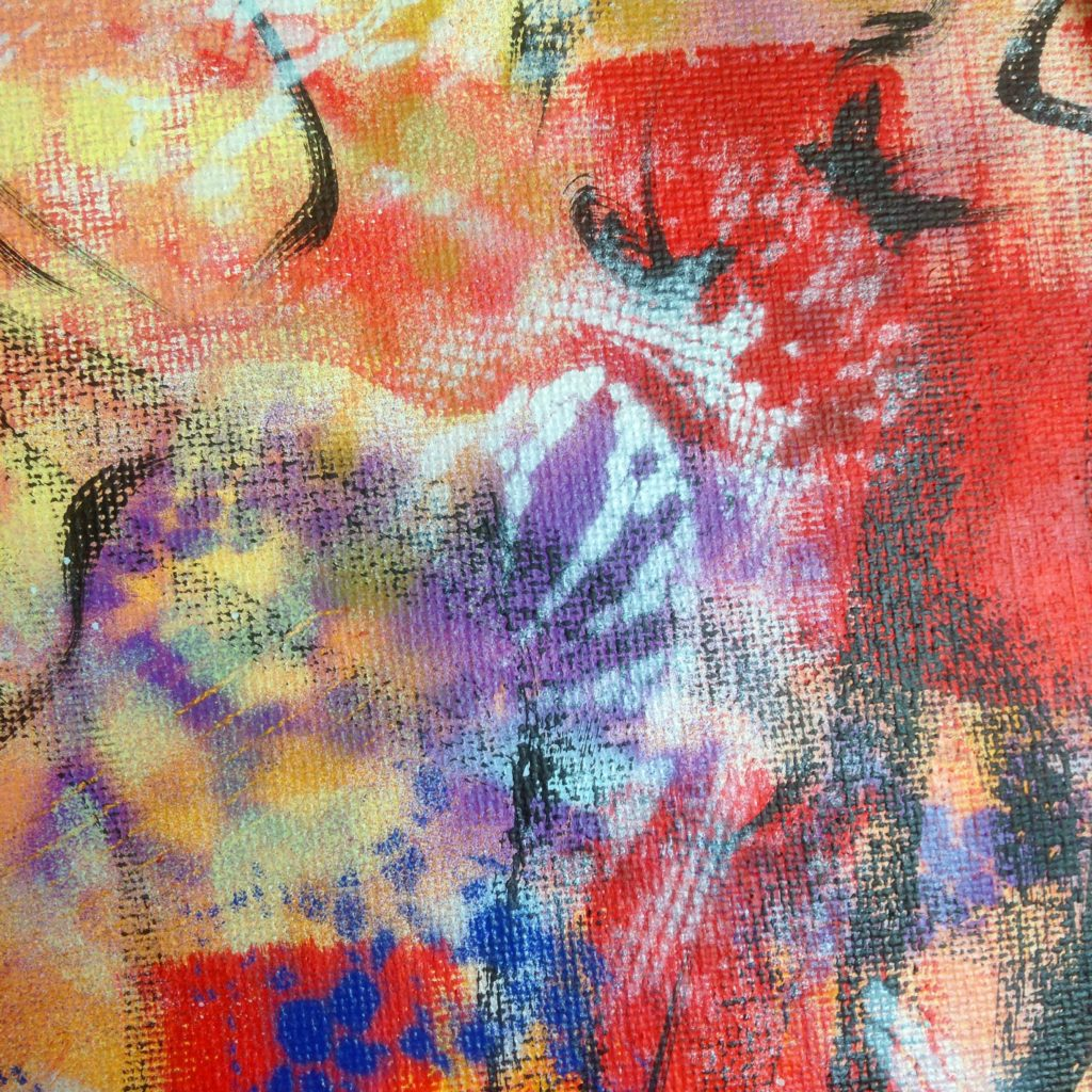 Work in progress: 'Dots 26' abstract painting by Nicki MacRae